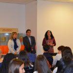 L'alcalde Xavier Fonollosa i la regidora Míriam Riera presideixen la benvinguda dels alumnes francesos